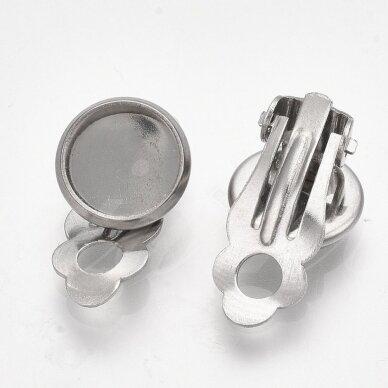 nplausk0006 apie 18x11.5x7 mm, nerūdijančio plieno, 10 mm disko kabošonas, auskaro detalė, metalo spalva, 8 vnt.