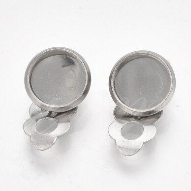 nplausk0006 apie 18x11.5x7 mm, nerūdijančio plieno, 10 mm disko kabošonas, auskaro detalė, metalo spalva, 8 vnt. 2