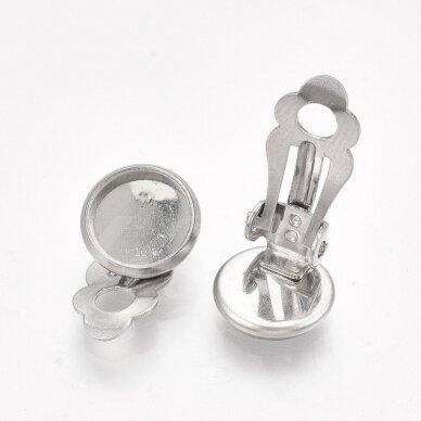 nplausk0006 apie 18x11.5x7 mm, nerūdijančio plieno, 10 mm disko kabošonas, auskaro detalė, metalo spalva, 8 vnt. 3
