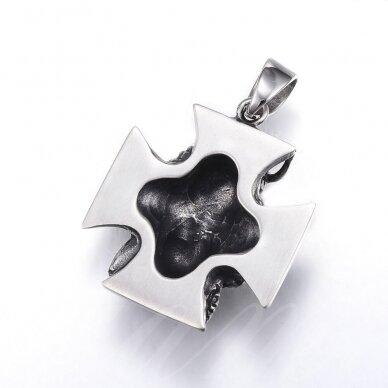 nplpak0015 apie 44x38x16mm, skylė 8x11mm, nerūdijančio plieno, pakabukas, sendinto sidabro spalva, 1 vnt.    2