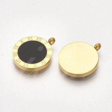 nplpak0018 apie 17x14x3mm, skylė 1.8mm, nerūdijančio plieno, pakabukas, aukso spalva, 1 vnt.      2