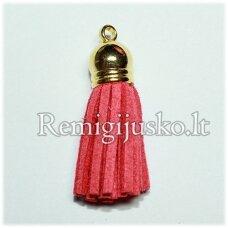okut0026 apie 58 x 12 mm, šviesi, raudona spalva, odinis kutas, kepurėlė, auksinė spalva, 1 vnt.