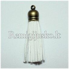 okut0036 apie 35 x 10 mm, balta spalva, odinis kutas, kepurėlė, žalvario spalva, 1 vnt.