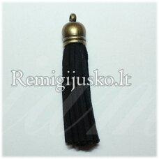 okut0040 apie 58 x 12 mm, juoda spalva, odinis kutas, kepurėlė, žalvario spalva, 1 vnt.