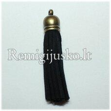 okut0040 apie 87 x 12 mm, juoda spalva, odinis kutas, kepurėlė, žalvario spalva, 1 vnt.