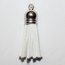 okut0046 apie 87 x 12 mm, balta spalva, odinis kutas, kepurėlė, sidabrinė spalva, 1 vnt.