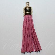 okut0075 apie 66 x 12 mm, rožinė spalva, odinis kutas, kepurėlė, auksinė spalva, 1 vnt.
