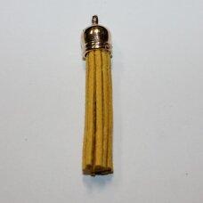 okut0079 apie 66 x 12 mm, geltona spalva, odinis kutas, kepurėlė, auksinė spalva, 1 vnt.