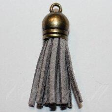 okut0091 apie 58 x 12 mm, pilka spalva, odinis kutas, kepurėlė, žalvario spalva, 1 vnt.