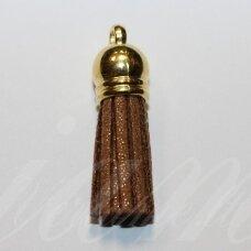 OKUT0119 apie 80 x 12 mm, ruda blizgi spalva, odinis kutas, kepurėlė, aukso spalva, 1 vnt.