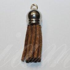 OKUT0121 apie 80 x 12 mm, blizgi, ruda spalva, odinis kutas, kepurėlė, sidabrinė spalva, 1 vnt.
