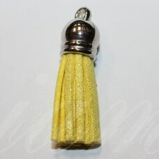 OKUT0127 apie 80 x 12 mm, blizgi geltona spalva, odinis kutas, kepurėlė, sidabro spalva, 1 vnt.