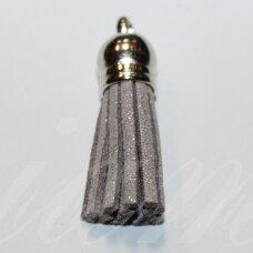 okut0132 apie 58 x 12 mm, blizgi danga, pilka spalva, odinis kutas, kepurėlė, sidabrinė spalva, 1 vnt.