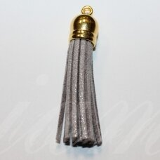 OKUT0133 apie 58 x 12 mm, blizgi danga, pilka spalva, odinis kutas, kepurėlė, auksinė spalva, 1 vnt.
