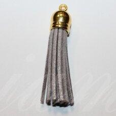 okut0133 apie 80 x 12 mm, blizgi danga, pilka spalva, odinis kutas, kepurėlė, auksinė spalva, 1 vnt.
