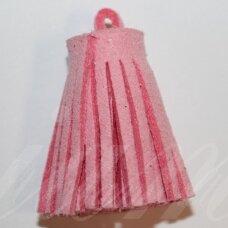 OKUT0138 apie 30 x 12 mm, rožinė spalva, odinis kutas, 1 vnt.