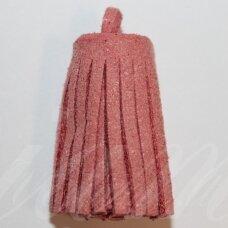 OKUT0143 apie 30 x 12 mm, tamsi, rožinė spalva, odinis kutas, 1 vnt.