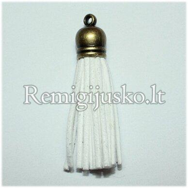 okut0036 apie 87 x 12 mm, balta spalva, odinis kutas, kepurėlė, žalvario spalva, 1 vnt.