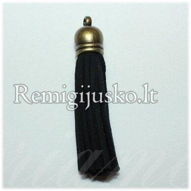 okut0040 apie 37 x 10 mm, juoda spalva, odinis kutas, kepurėlė, žalvario spalva, 1 vnt.