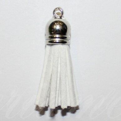 okut0046 apie 58 x 12 mm, balta spalva, odinis kutas, kepurėlė, sidabrinė spalva, 1 vnt.