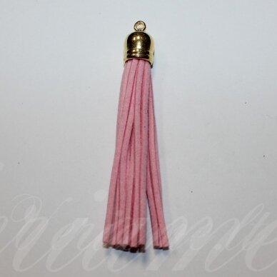 okut0082 apie 88 x 12 mm, šviesi, rožinė spalva, odinis kutas, kepurėlė, auksinė spalva, 1 vnt.