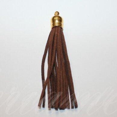 okut0107 apie 87 x 12 mm, ruda spalva, odinis kutas, kepurėlė, auksinė spalva, 1 vnt.