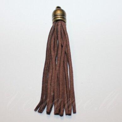 okut0108 apie 35 x 10 mm, ruda spalva, odinis kutas, kepurėlė, žalvario spalva, 1 vnt.