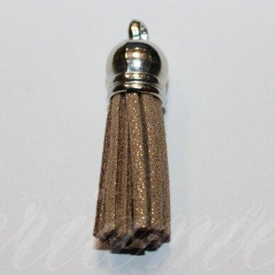 okut0130 apie 80 x 12 mm, blizgi danga, šviesi, ruda spalva, odinis kutas, kepurėlė, sidabrinė spalva, 1 vnt.