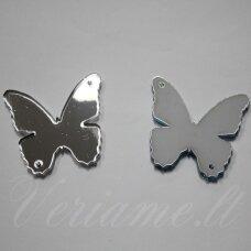 osp0f00-drug-36x28 apie 36 x 28 mm, drugelio forma, veidrodinis, organinis stiklas, pakabuko detalė, 1 vnt.