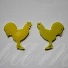 osp1h02-gaid-32x32. about 32 x 32 mm, rooster shape, organic glass, pendant part, 1 pc.