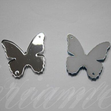 osp0f00-drug-40x35. apie 40 x 35 mm, drugelio forma, veidrodinis, organinis stiklas, pakabuko detalė, 1 vnt.