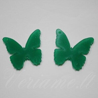 osp6h01-drug-40x35. apie 40 x 35 mm, drugelio forma, organinis stiklas, pakabuko detalė, 1 vnt.