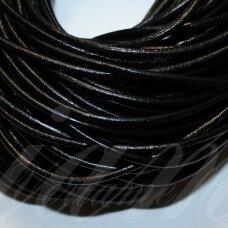 OV0002 apie 3 mm storis, juoda spalva, natūrali oda, virvutė, 1 m.