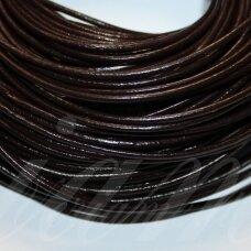 ov0008-2-5 m apie 2 mm, tamsi, ruda spalva, natūrali oda, virvutė, 5 m.