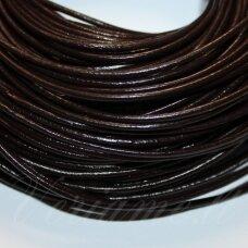 ov0008-3-5 m apie 3 mm, tamsi, ruda spalva, natūrali oda, virvutė, 5 m.