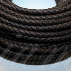 ov0045 apie 6 mm, tamsi, ruda spalva, pinta, natūrali oda, virvutė, 1 m.