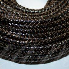 ov0052 apie 3 mm, juoda spalva, pinta, natūrali oda, virvutė, 1 m.