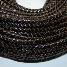 OV0052 apie 4 mm, juoda spalva, pinta, natūralios odos virvutė, 1 m.