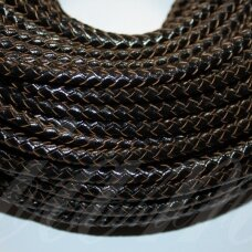 ov0052 about 6 mm, black color, weave, natural skin, rope, 1 m.