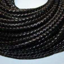 ov0053 apie 5 mm, juoda spalva, pinta, natūrali oda, virvutė, 1 m.