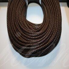 OV0054 apie 3 mm, tamsi, ruda spalva, pinta, natūrali oda, virvutė, 1 m.