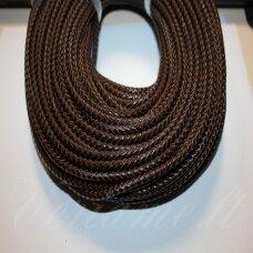 ov0054 apie 4 mm, tamsi, ruda spalva, pinta, natūrali oda, virvutė, 1 m.