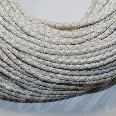 OV0057 apie 3 mm, balta spalva, pinta, natūralios odos virvutė, 1 m.