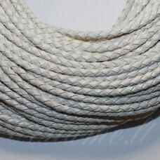 OV0057 apie 4 mm, balta spalva, pinta, natūralios odos virvutė, 1 m.