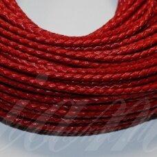 OV0058 apie 3 mm, raudona spalva, pinta, natūrali oda, virvutė, 1 m.
