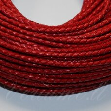 OV0058 apie 5 mm, raudona spalva, pinta, natūrali oda, virvutė, 1 m.