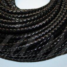OV0061 apie 4 mm, juoda spalva, pinta, natūrali oda, virvutė, 1 m.
