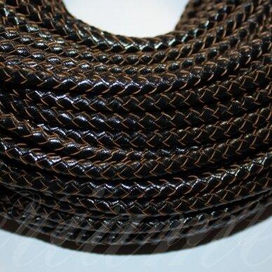 ov0052 apie 6 mm, juoda spalva, pinta, natūrali oda, virvutė, 1 m.