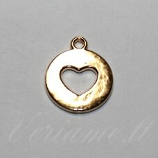 pak0007 about 17.5 x 14.5 x 1.5 mm, light, gold color, metal pendant, 1 pc.
