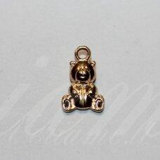 pak0033 apie 16 x 10 x 4.5 mm, šviesi, auksinė spalva, metalinis pakabukas, 1 vnt.